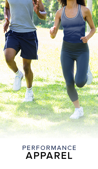 A picture of people running in sports clothing. Click to shop performance apparel.